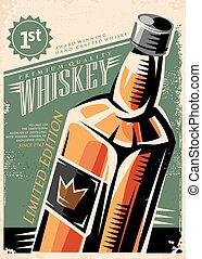 whisky, vettore, disegno, retro, manifesto