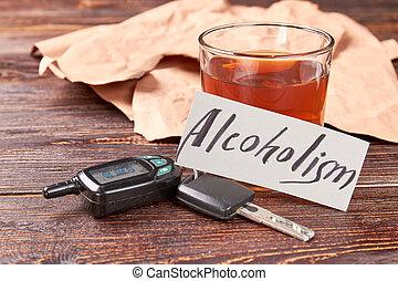 whisky, vidrio, coche, llaves