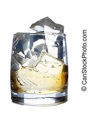 whisky, y, hielo, cinco