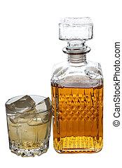 whisky, y, hielo, dos