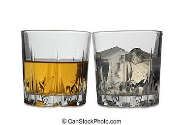 whisky, y, hielo, nueve