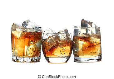 whisky, y, hielo, siete