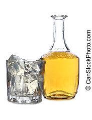whisky, y, hielo, tres
