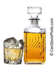 whisky, y, hielo, uno