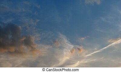 Whispy Clouds Drifting over a Blue Sky. 1080p DCI footage -...