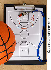Whistle And Basketball Tactics On Paper - Close-up Of...