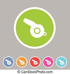 whistle blower sport football app icon flat web sign symbol...