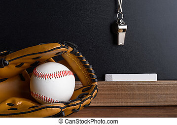 Whistle; Chalk And Baseball Glove With Ball Near Blackboard...