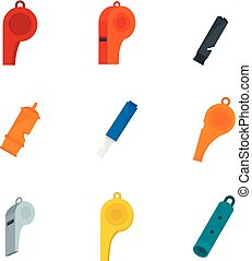 Whistle coaching blow icons set, flat style - Whistle...