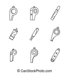 Whistle coaching blow icons set, outline style - Whistle...