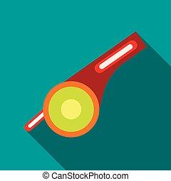Whistle icon, flat style