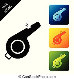 Whistle icon isolated on white background. Referee symbol. Fitness and sport sign. Set icons colorful square buttons. Vector Illustration