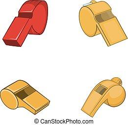 Whistle icon set, cartoon style