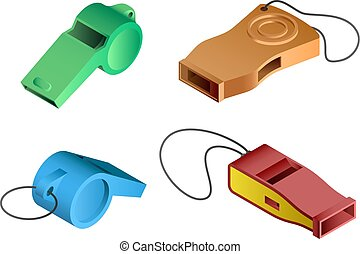 Whistle icon set, isometric style - Whistle icon set....
