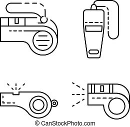 Whistle icon set, outline style - Whistle icon set. Outline...