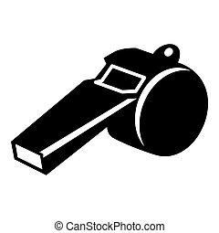 Whistle icon, simple black style