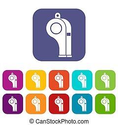 Whistle icons set flat