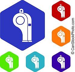 Whistle icons set hexagon