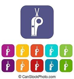 Whistle icons set