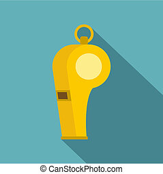 Whistle of refere icon, flat style