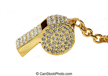 Whistle pendant - Golden whistle pendant with lot of...