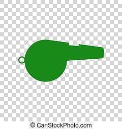 Whistle sign. Dark green icon on transparent background.