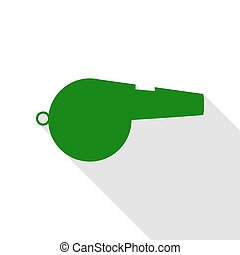 Whistle sign. Green icon with flat style shadow path.