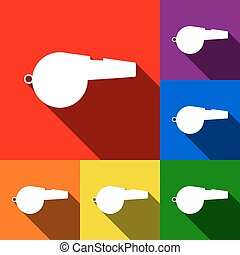 Whistle sign. Vector. Set of icons with flat shadows at red, orange, yellow, green, blue and violet background.