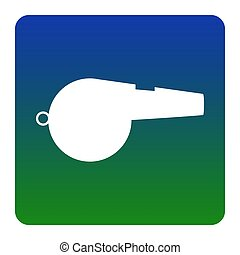 Whistle sign. Vector. White icon at green-blue gradient square with rounded corners on white background. Isolated.