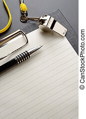 Whistle - Metal sport whistle with pen and paper sheet