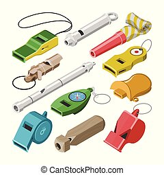 Whistle vector coach whistling sound tool and blowing...