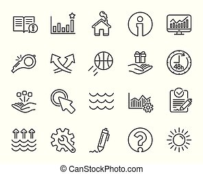 Whistle, Waves and Sun line icons. Signature, Global warming. Vector