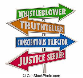 whistleblower, flèches, illustration, 4, mots, signes, 3d