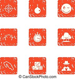 Whistleblower icons set, grunge style - Whistleblower icons...