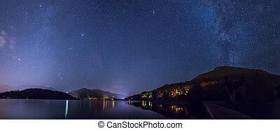 whistler, étoiles, lac, alta, sous