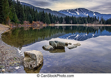 Reflection of Whistler mountain in pond with rocks