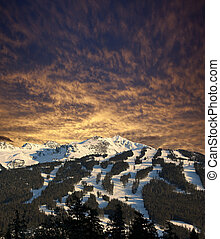 Whistler Mountain with red sky