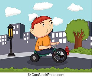 Whistling and cycling boy cartoon