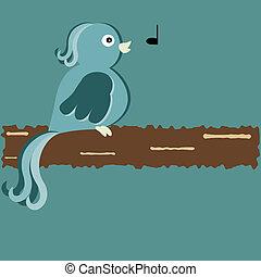 whistling bird on branch