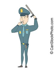 whistling., caucasien, gendarme, jeune