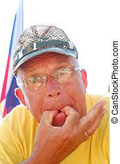 whistling senior man