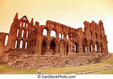 whitby 修道院, 城堡, 毁灭, benedictine修道院, sited, 在上, whitby's, 东方,...