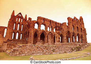 Whitby Abbey castle, ruined Benedictine abbey sited on Whitby's East Cliff in North Yorkshire on the north-east coast of England, UK