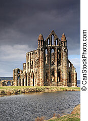 Whitby Abbey lit by the sun