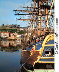 Whitby endeavor - Bark Endeavor at Whitby harbour, the home...