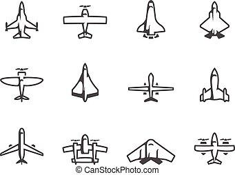 white., ícones, &, avião, silueta, pretas