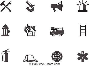 white., ícones, fogo, &, lutador, pretas