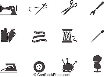 white., ícones, &, pretas, cosendo