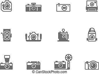 white., איקונים, &, שחור, מצלמה