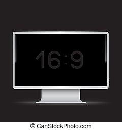 white 16 to 9 monitor black background